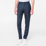Paul Smith Men's Slim-Fit Petrol Blue Wool Pleated Trousers