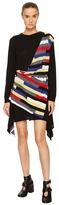 Sonia Rykiel Runway Broken Stripe Intarsia Drape Front Long Sleeve Dress Women's Dress