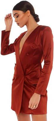 Public Desire LISSY RODDY x PD Fierce Rust Plunge Blazer Dress