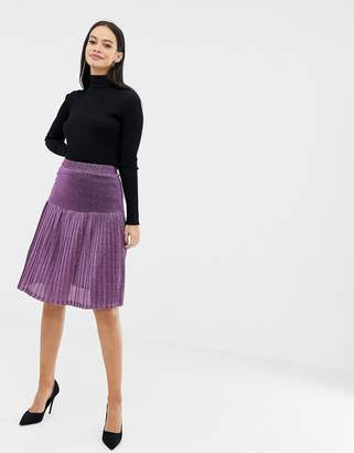 UNIQUE21 high waisted pleated glitter skirt-Purple