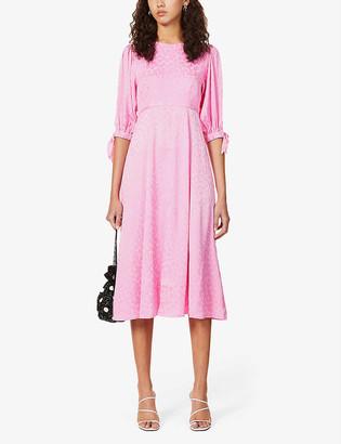 Kitri Lorelle floral-jacquard woven midi dress