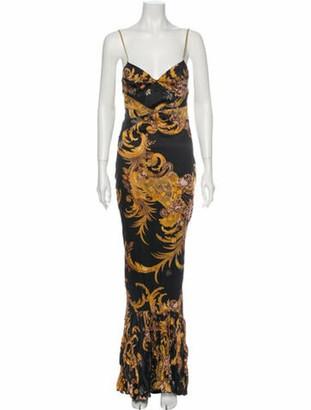 Just Cavalli Printed Long Dress Black