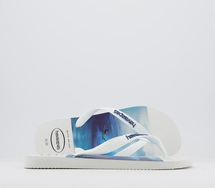 Havaianas Hype Flip Flops White Blue