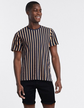 Selected vertical stripe t-shirt in navy organic cotton