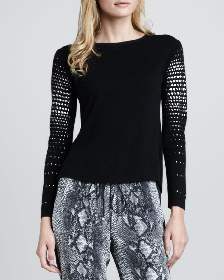 Rebecca Taylor Stud-Sleeve Knit Sweater