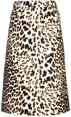 Prada Leopard Printed A-Line Skirt