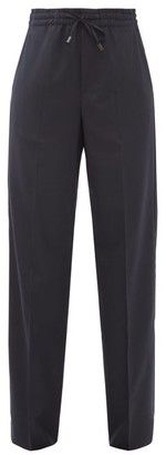 Maison Margiela Drawstring-waist Wool-blend Twill Trousers - Navy