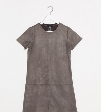 New Look Petite faux suede mini dress in grey