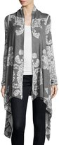 Neiman Marcus Open-Front Jacquard-Print Cardigan, Charcoal/Light Heather Gray