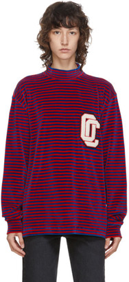 Opening Ceremony Red and Blue Velvet Stripe Boxy Turtleneck