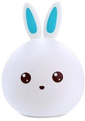 Cartoon lamp ZJB00184-GJT Silicone Kids Night Light, Bedside Bunny Toddler Children Warm Light Colours Options 3 Breathing Dual Light Modes Sensitive Tap Control and USB Rechargeable Perfect