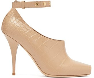 Burberry Blyth Peep-toe Crocodile-effect Leather Pumps - Womens - Beige
