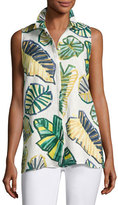 Lafayette 148 New York Justin Sleeveless Palm-Print Linen Blouse, Multi