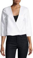 Nic+Zoe Basketweave Cropped Jacket, Milk White