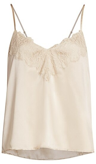 Thumbnail for your product : CAMI NYC The Katya Lace-Trim Silk Camisole Top