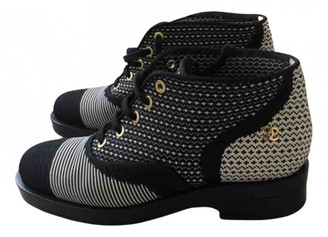 Chanel Blue Cloth Ankle boots