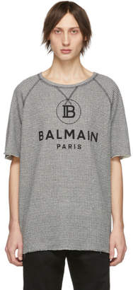 Balmain Black and White Raw Edge T-Shirt