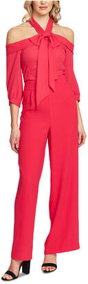 CeCe Cold-Shoulder Tie-Neck Jumpsuit