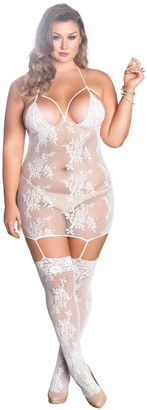 Leg Avenue Sexy Plus Size Suspender Bodystocking White