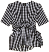MSGM Gingham Ruched Short Sleeve Top
