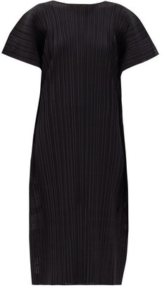 Pleats Please Issey Miyake Wide-sleeve Technical-pleated Pointelle Dress - Black