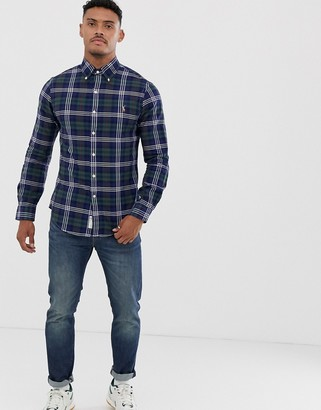 Polo Ralph Lauren slim fit shirt in green check with player logo