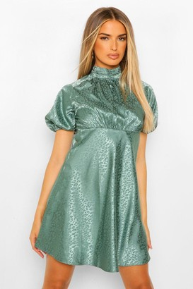 boohoo Satin Leopard Jacquard Puff Sleeve Skater Dress