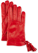 Imoni Leather Tassel Gloves, Red