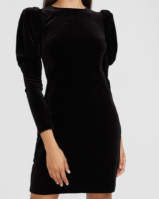 Express Velvet Puff Sleeve Sheath Dress