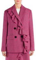 MSGM Plaid Ruffled Wool Jacket