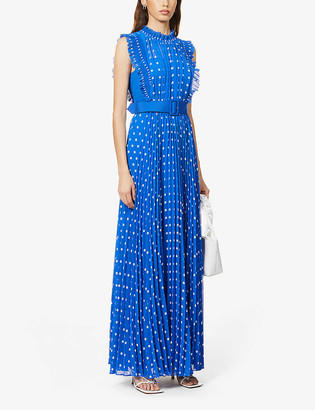 Self-Portrait Polka dot-print pleated crepe maxi dress