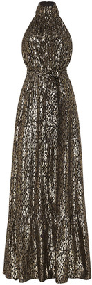 Rebecca Vallance Sana Metallic Silk-Blend Halter Gown