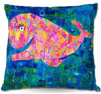 "Wilma Ebern Designs Savard Couch the Whale Throw Pillow Ebern Designs Size: 16"" x 16"""