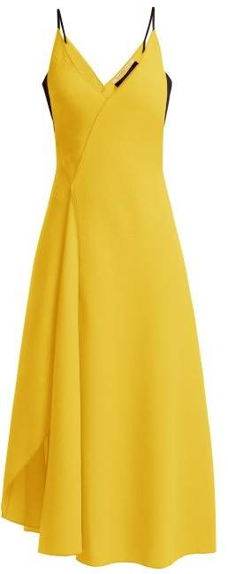 Roland Mouret Hooper Asymmetric Wool Dress - Womens - Yellow
