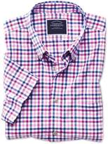 Charles Tyrwhitt Classic Fit Poplin Short Sleeve Pink Multi Gingham Cotton Casual Shirt Single Cuff Size Large