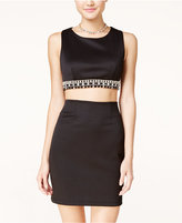 Teeze Me Juniors' Embellished Cropped Bodycon Dress