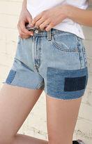 LA.EDIT Patchwork Denim High Rise Shorts