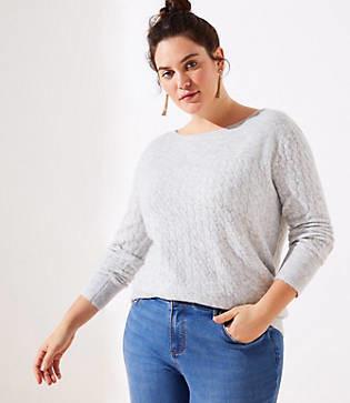 LOFT Plus Ribbed Yoke Cable Sweater