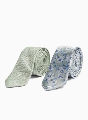 Topman Sage Textured Tie with a Sage Floral Tie 2 Pack