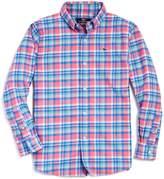 Vineyard Vines Boys' Plaid Flannel Whale Shirt