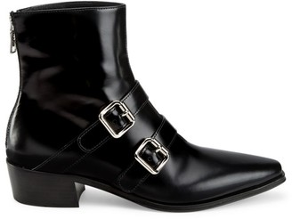 Prada Double Buckle Leather Ankle Boots