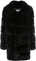 Yves Salomon bevelled rabbit fur coat