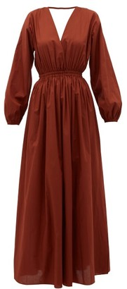 Matteau Backless Balloon-sleeved Cotton-poplin Maxi Dress - Dark Red