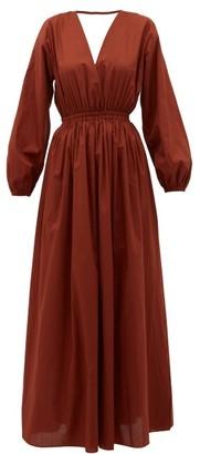 Matteau - Backless Balloon-sleeved Cotton-poplin Maxi Dress - Womens - Dark Red