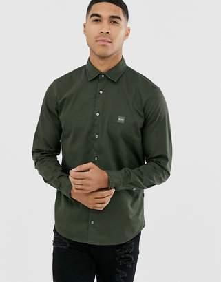 BOSS Mypop slim fit poplin shirt in khaki-Green