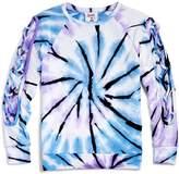 Flowers by Zoe Girls' Lace-Up Sleeve Tie-Dye Sweatshirt