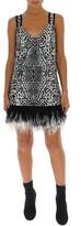 Proenza Schouler Feather Trim Leopard Print Mini Dress