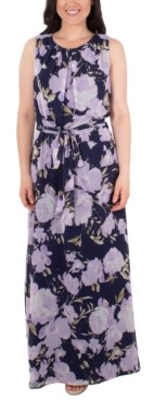 NY Collection Petite Floral-Print Belted Dress
