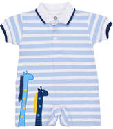 Florence Eiseman Stripe Knit Pique Polo Shortall w/ Giraffe Embroidery, Size 3-18 Months