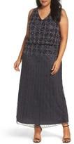 Pisarro Nights Plus Size Women's Beaded Blouson Gown